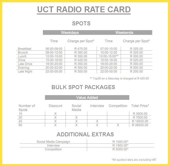 UCT Radio Rate Card